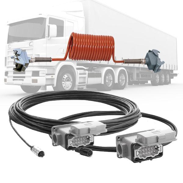 cable spiralé pour camera de recul poids-lourd semi-remorque orlaco orange connecteur gris carré