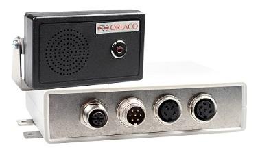 Boitier interface SRD CAN radar sideye side eye orlaco avec haut parleur bip avectisseur sonore et led flash alarme alerte